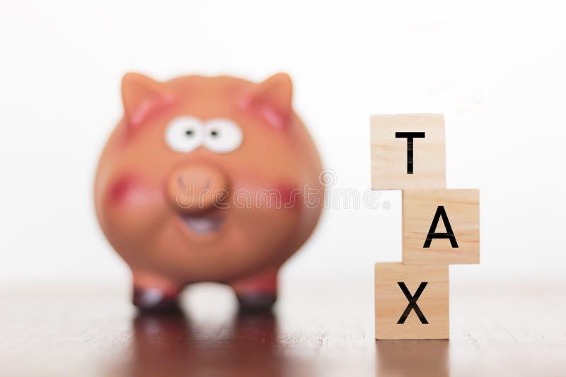 存钱罐和税词 免版税图库摄影