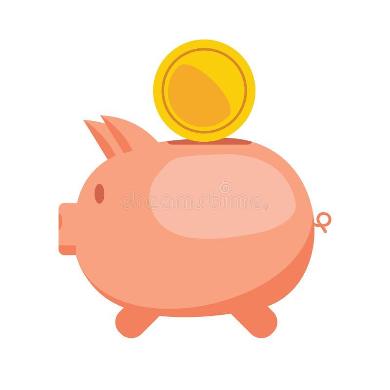 存钱罐和金币 平的例证 向量例证