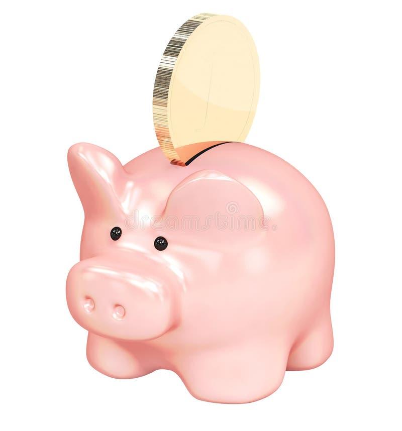 存钱罐和金黄硬币 向量例证