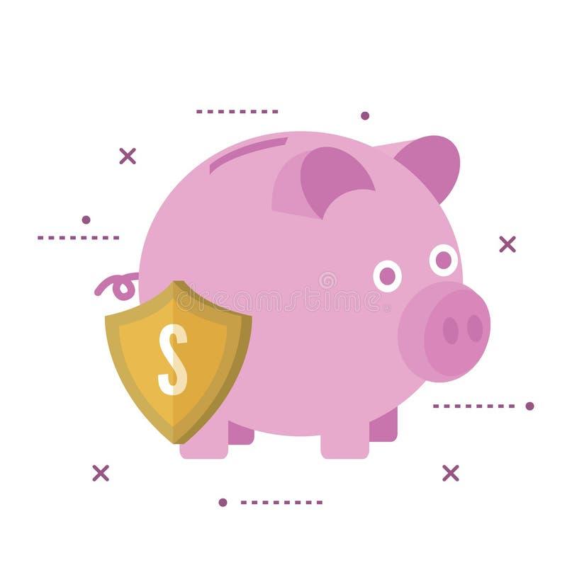 存钱罐巩固与盾 银行业务可能计算机概念费用等在线问题象征 向量例证