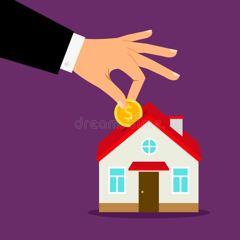存钱罐房子概念 安置银行储款,手放硬币入家庭moneybox 向量例证
