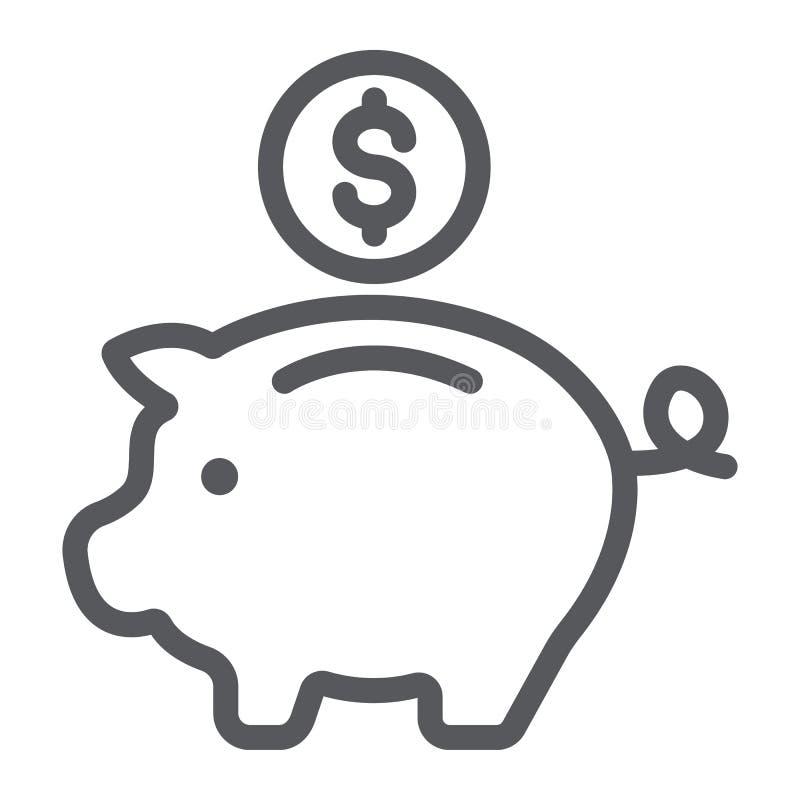 存钱罐线象,财务和银行业务,投资标志,向量图形,在白色背景的一个线性样式 向量例证