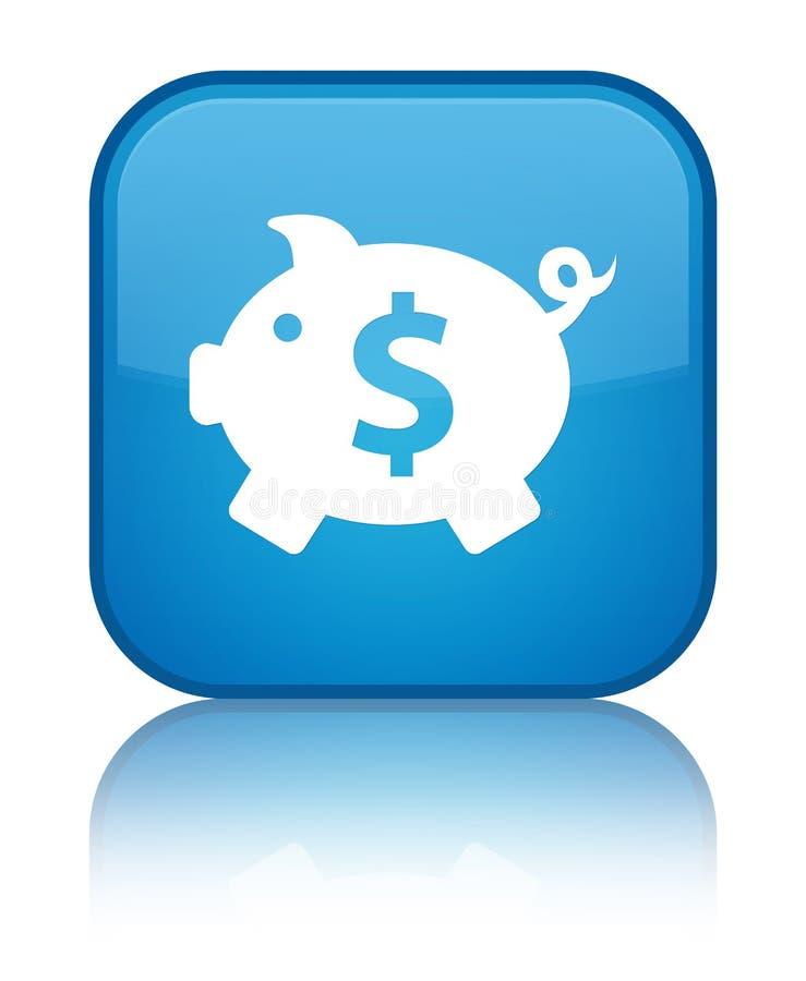 存钱罐美元的符号象特别深蓝蓝色方形的按钮 库存例证