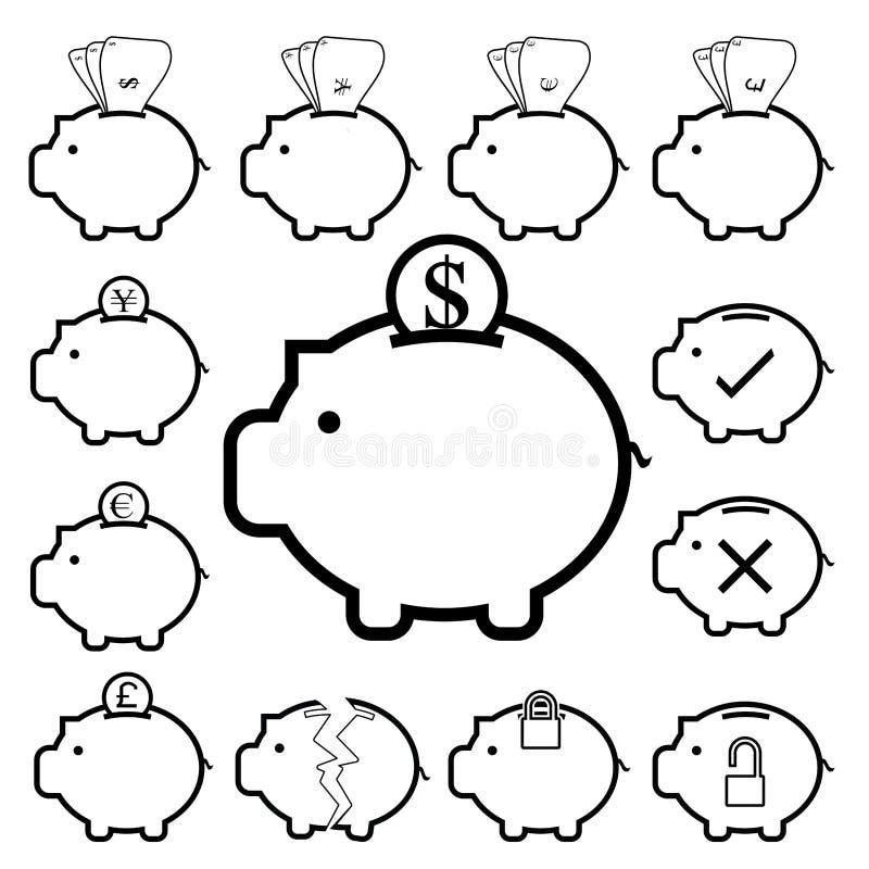 存钱罐金钱象,开户财务和保存 皇族释放例证