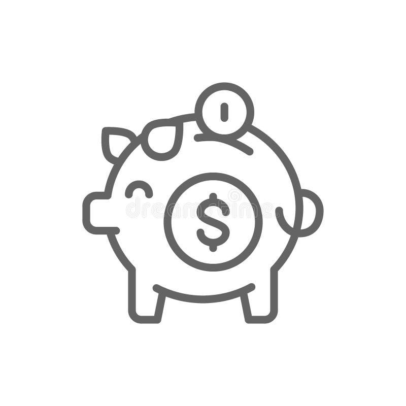 存钱罐,保存金钱线象 r 库存例证