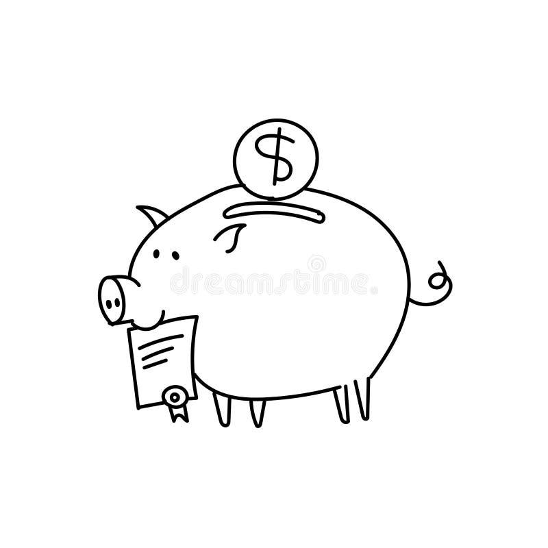 存钱罐scetch 与一个文件的贿款猪在嘴 向量例证