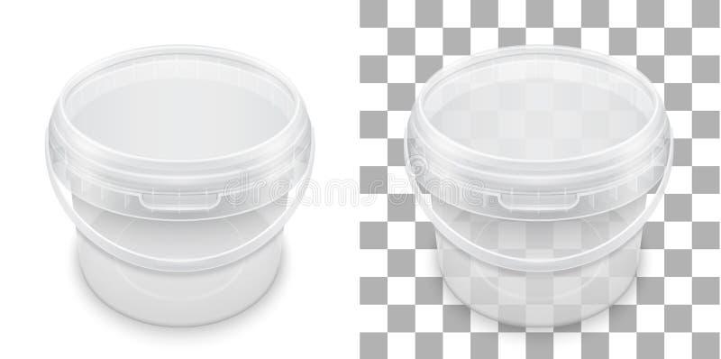 存贮的透明空的塑料桶 包装t的传染媒介 库存例证