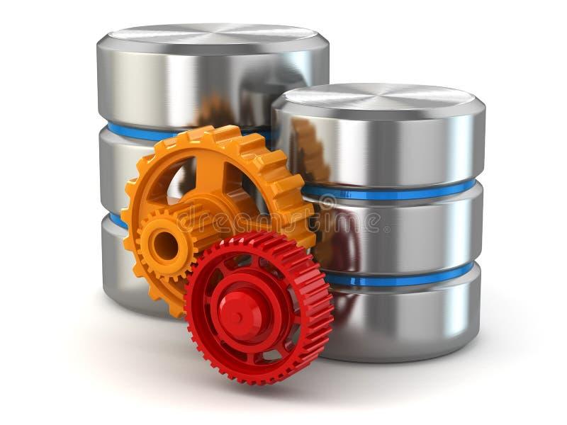 存贮管理概念。数据库标志和齿轮。 库存例证