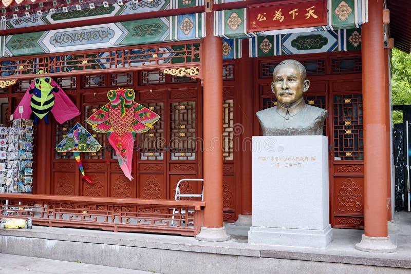 孙逸仙,中华民国的创建者雕象在唐人街在蒙特利尔,魁北克,加拿大 图库摄影