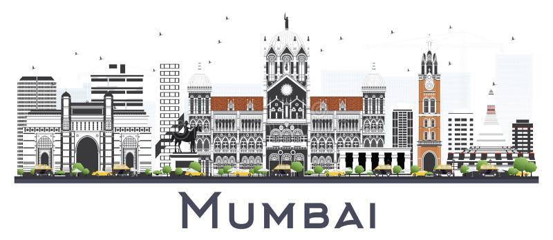 孟买印度与在白色隔绝的颜色大厦的市地平线 库存例证
