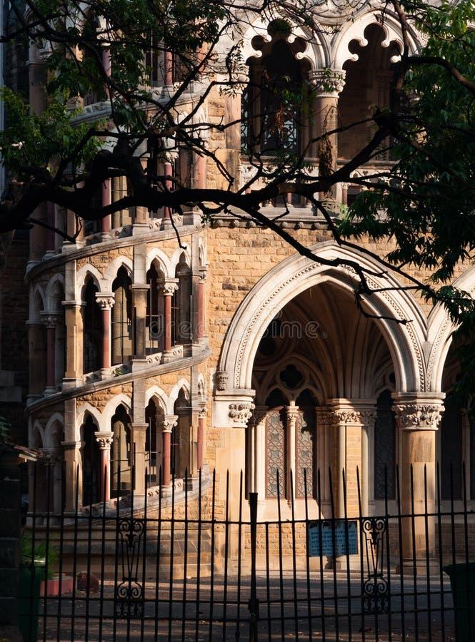 孟买在堡垒校园,孟买,印度的大学大厦 免版税库存照片
