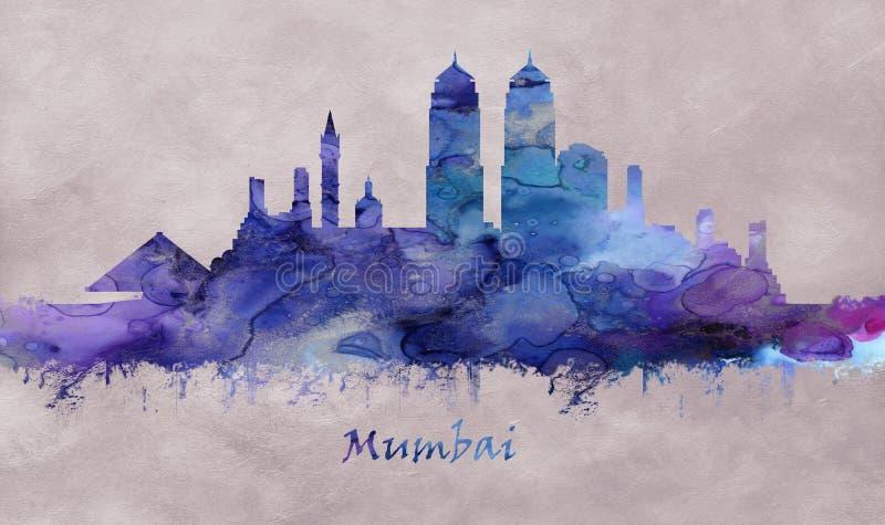 孟买市在马哈拉施特拉印度,地平线 向量例证