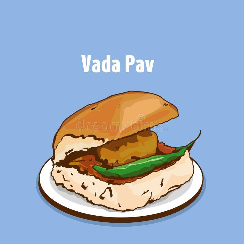 孟买街道食物vada pav传染媒介 向量例证