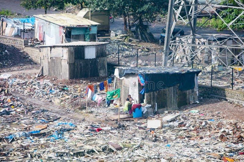 孟买贫民窟发展 免版税库存照片