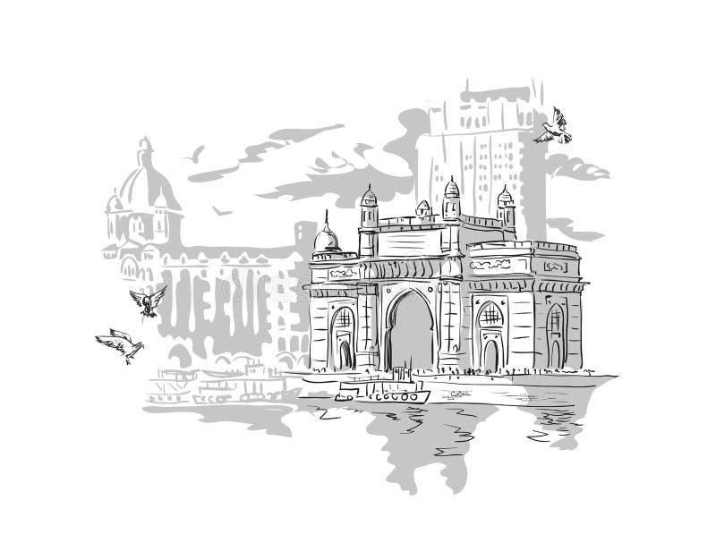 孟买,印度门 皇族释放例证