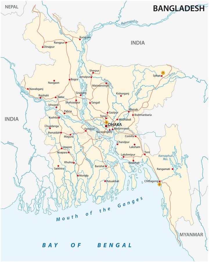 孟加拉国乡下公路传染媒介地图 库存例证