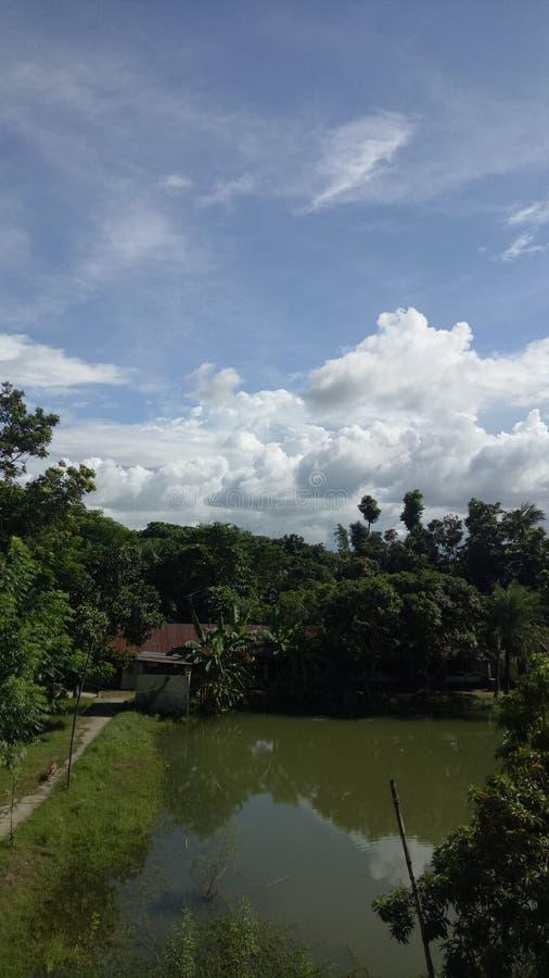 孟加拉国云天和池塘 图库摄影