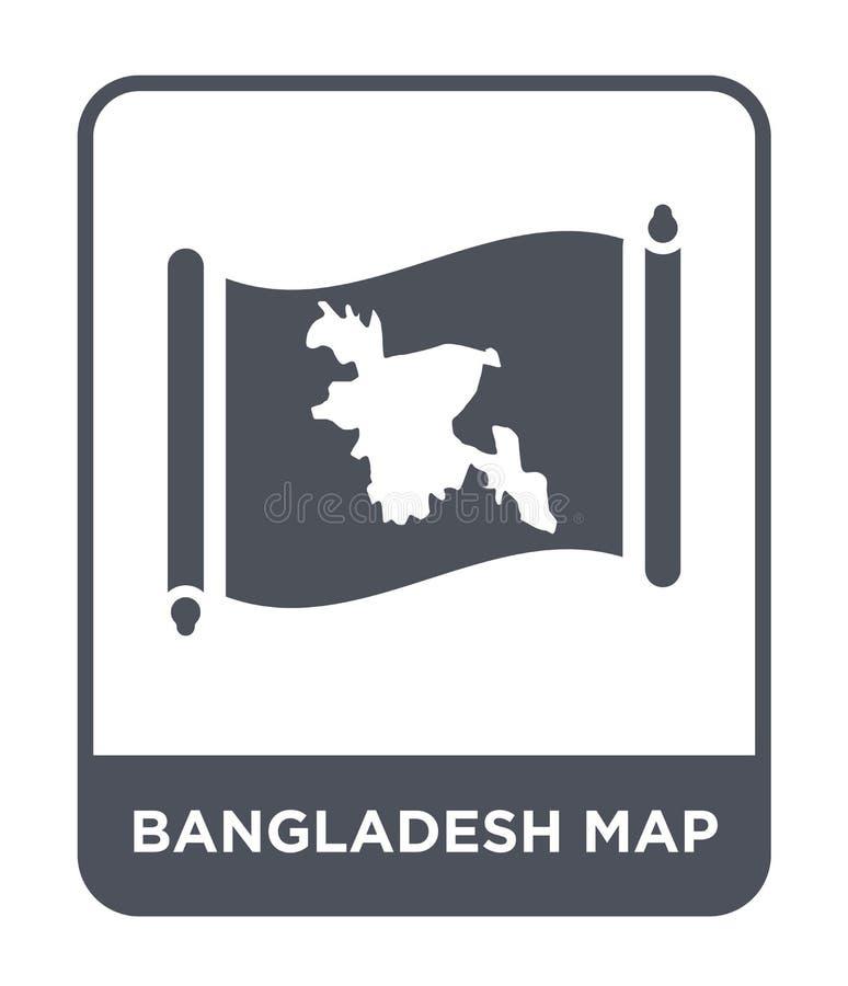 孟加拉国在时髦设计样式的地图象 孟加拉国在白色背景隔绝的地图象 孟加拉国地图简单传染媒介的象 向量例证