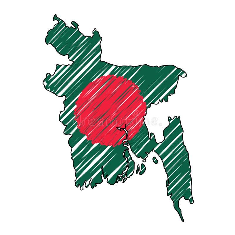 孟加拉国地图手拉的剪影 传染媒介概念例证旗子,儿童的图画,杂文地图 国家地图为 向量例证