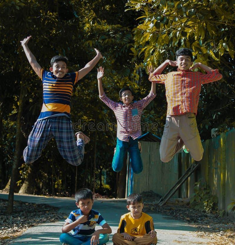 孟加拉国孩子的童年幸福 免版税图库摄影