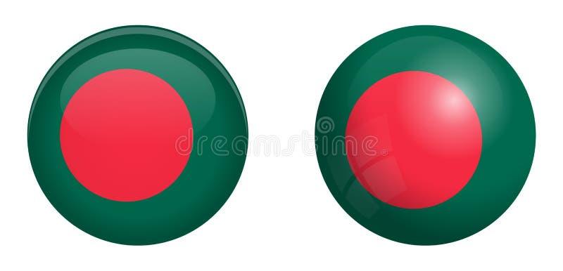 孟加拉国旗子在3d圆顶按钮下和在光滑的球形/球 皇族释放例证