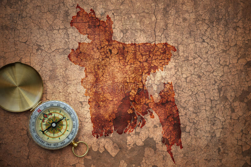 孟加拉国的地图一张老葡萄酒裂缝纸的 库存图片