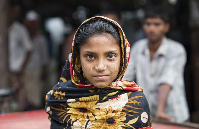 年轻孟加拉国的女孩在吉大港 免版税库存图片