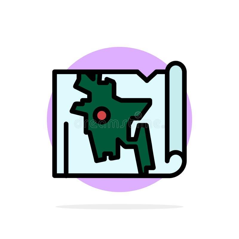 孟加拉国,地图,世界,孟加拉文抽象圆背景平整颜色图标 库存例证