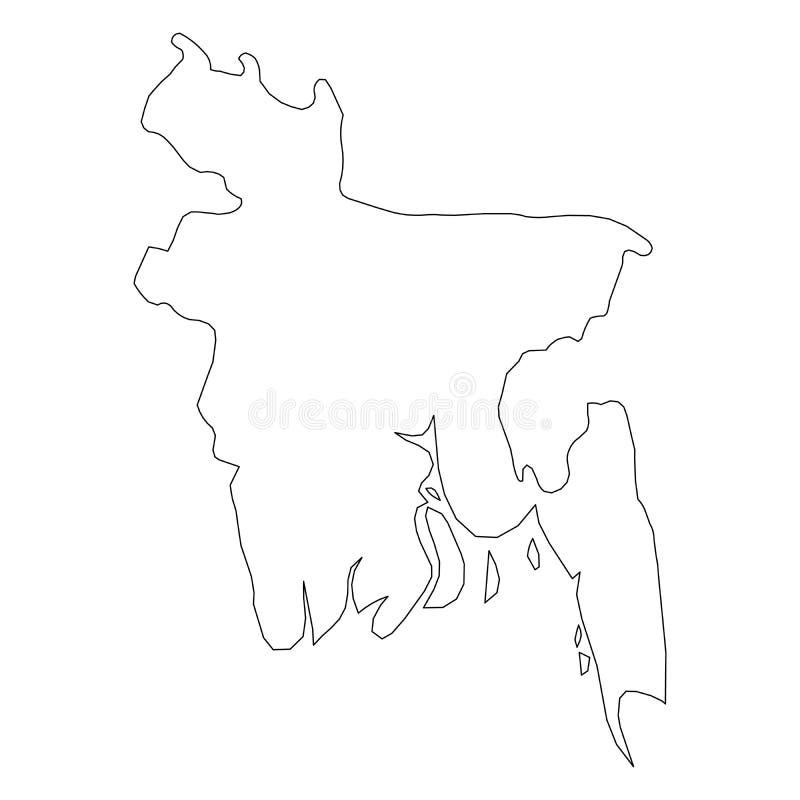 孟加拉国-国家区域坚实黑概述边界地图  简单的平的传染媒介例证 向量例证