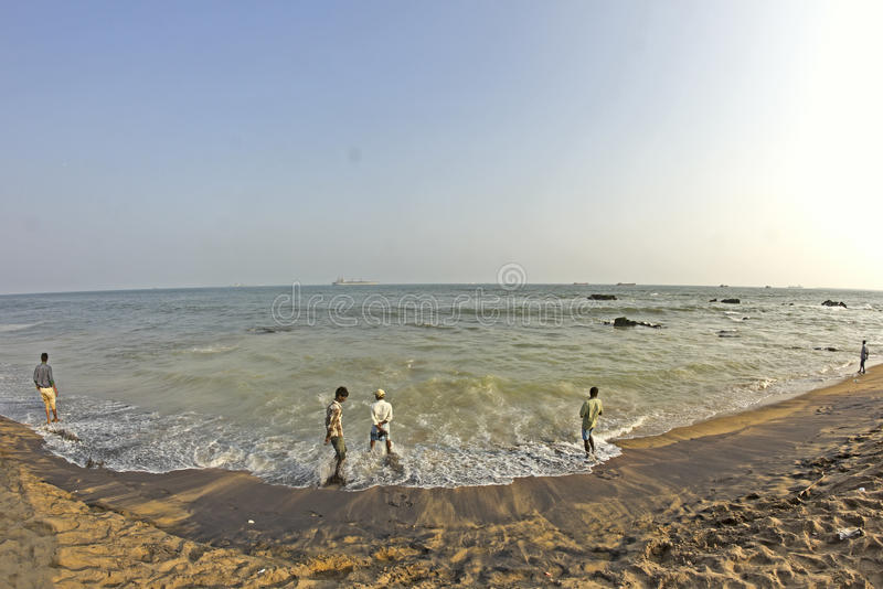孟加拉海湾在Vishakhapatnam 库存照片