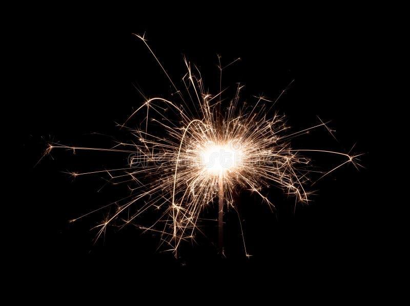 孟加拉火新年在黑背景隔绝的闪烁发光物蜡烛 免版税图库摄影