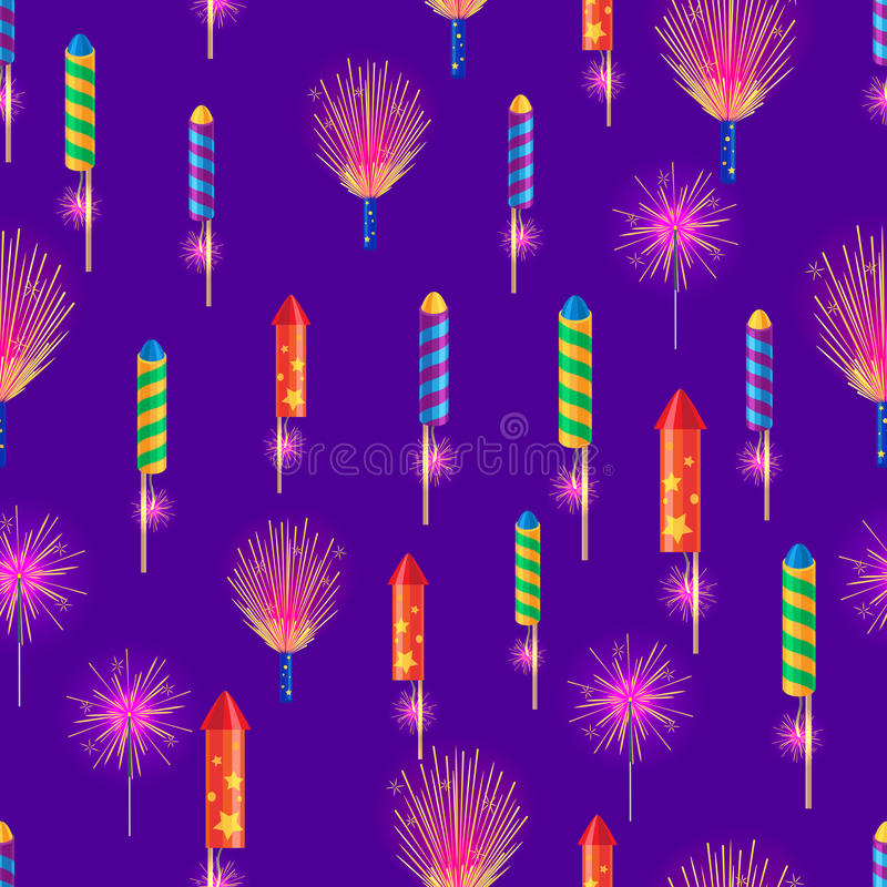 孟加拉火,五颜六色的火箭队,闪烁发光物烟花 皇族释放例证