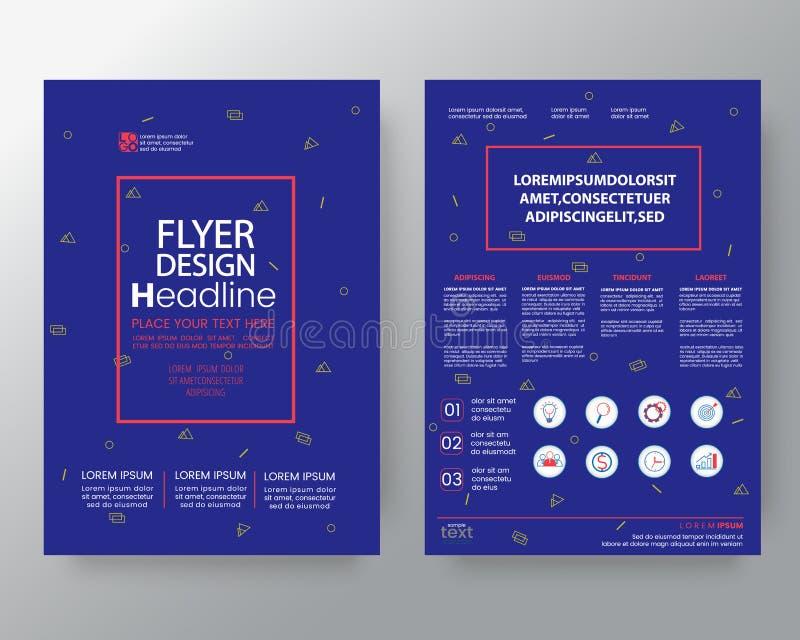 孟菲斯公司本体的,小册子年终报告盖子飞行物海报设计版面在A4大小的传染媒介模板艺术背景 库存例证