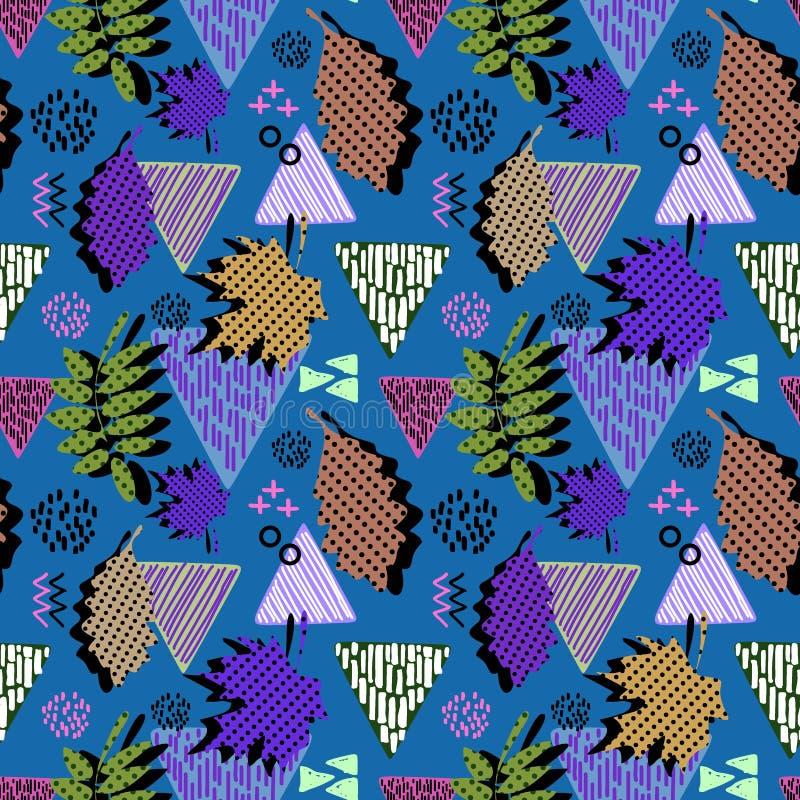 孟菲斯几何秋叶无缝的样式 库存例证
