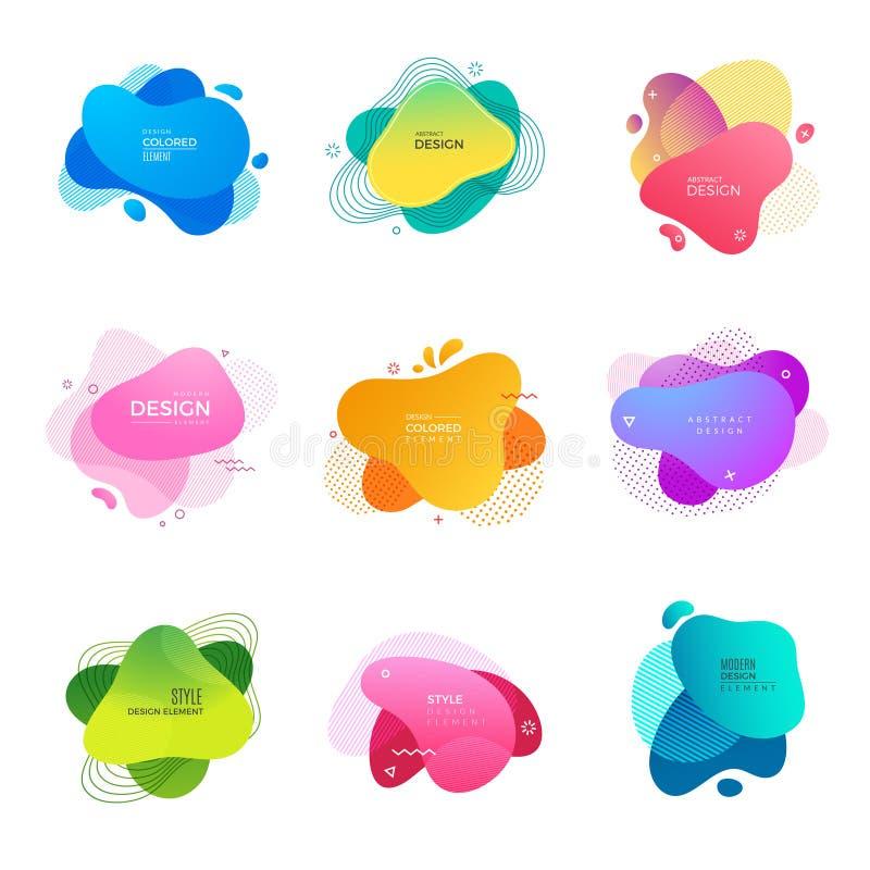 孟菲斯商标 摘要装饰色的形状绘设计项目传染媒介模板 库存例证