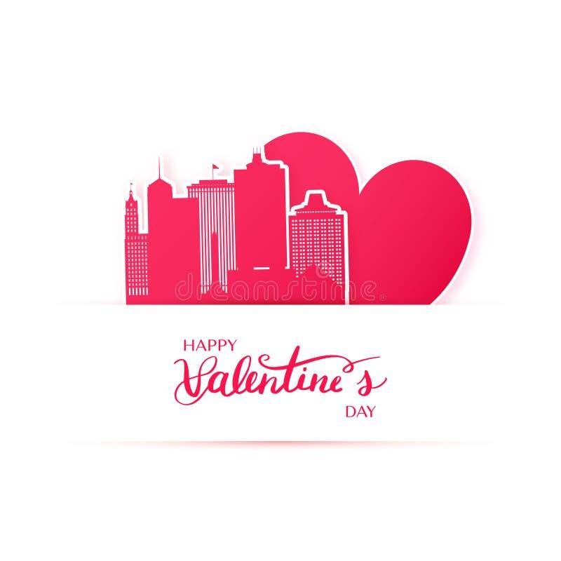 孟菲斯市红色心脏和剪影裱糊贴纸 向量例证