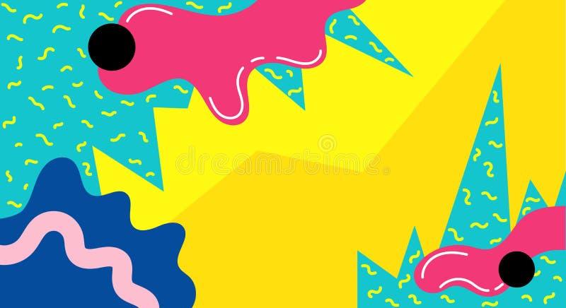 孟菲斯抽象流行艺术线和小点颜色样式背景 传染媒介液体飞溅覆盖物几何设计孟菲斯样式 ?? 向量例证