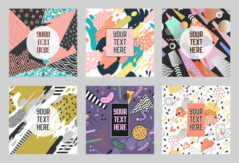 孟菲斯摘要海报设置与几何形状和手拉的刷子 行家时髦横幅,模板,盖子 库存例证