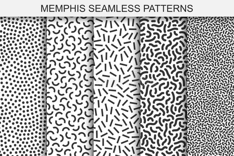 孟菲斯无缝的样式的汇集 黑白纹理 时髦时尚设计80-90s 皇族释放例证