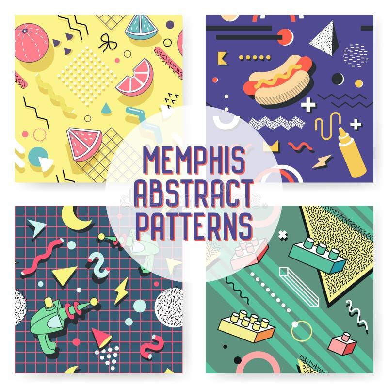 孟菲斯无缝的样式集合 抽象时髦背景减速火箭的样式 现代海报横幅,与几何元素的卡片设计 向量例证