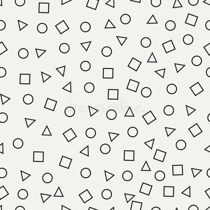 孟菲斯无缝的样式 与圈子,正方形,三角的抽象减速火箭的背景 也corel凹道例证向量 皇族释放例证