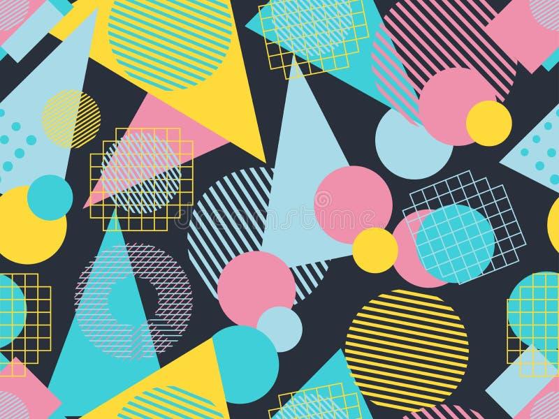 孟菲斯无缝的样式 仿照80 ` s样式的几何元素孟菲斯 向量 向量例证