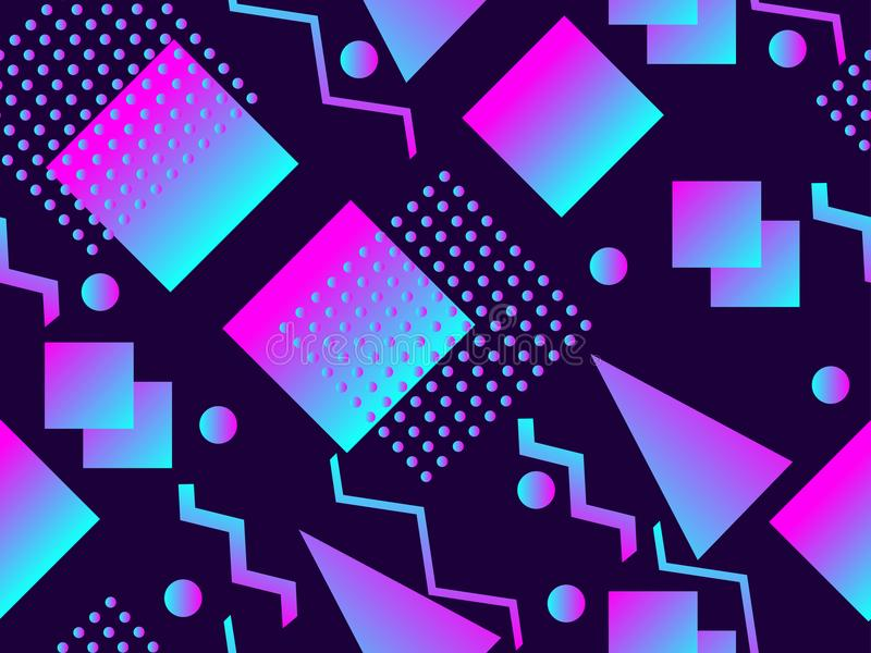 孟菲斯无缝的样式 全息照相的几何形状,梯度, 20世纪80年代的减速火箭的样式 孟菲斯设计背景 向量 皇族释放例证