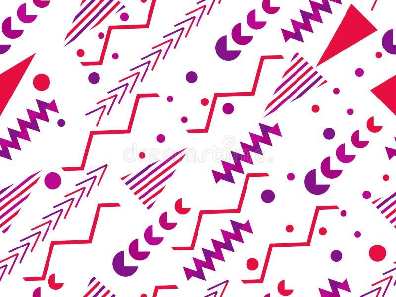 孟菲斯无缝的样式 仿照80 ` s样式的几何元素孟菲斯 向量 皇族释放例证