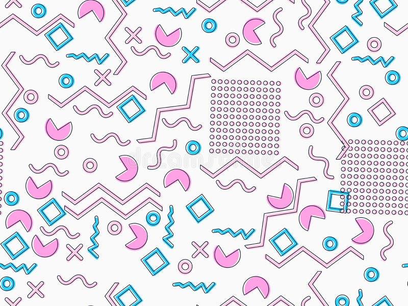 孟菲斯无缝的样式 仿照80 ` s样式的几何元素孟菲斯 桃红色和蓝色口气 向量 库存例证
