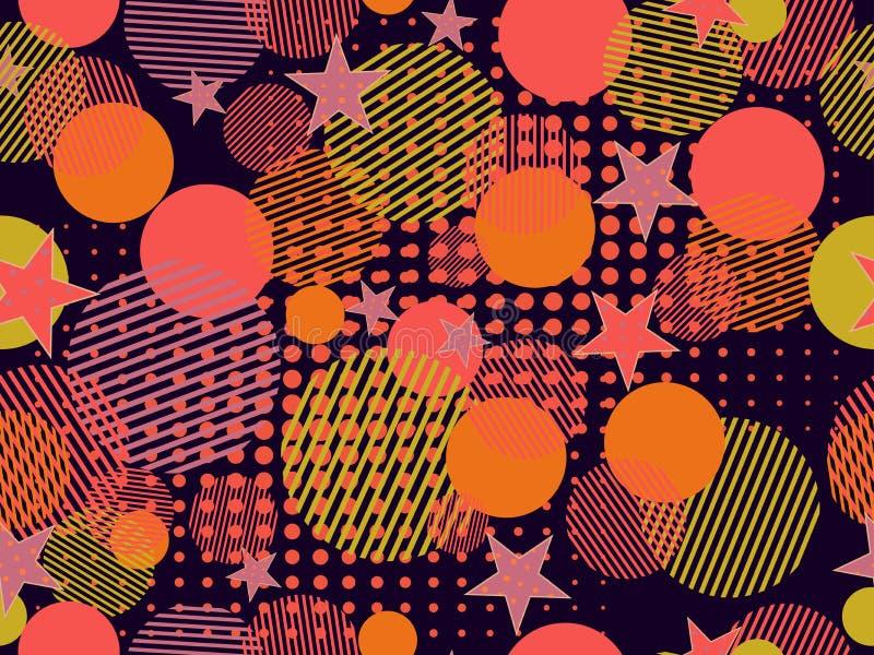 孟菲斯无缝的样式 仿照80 ` s样式的流行艺术被加点的和几何元素孟菲斯 向量 向量例证