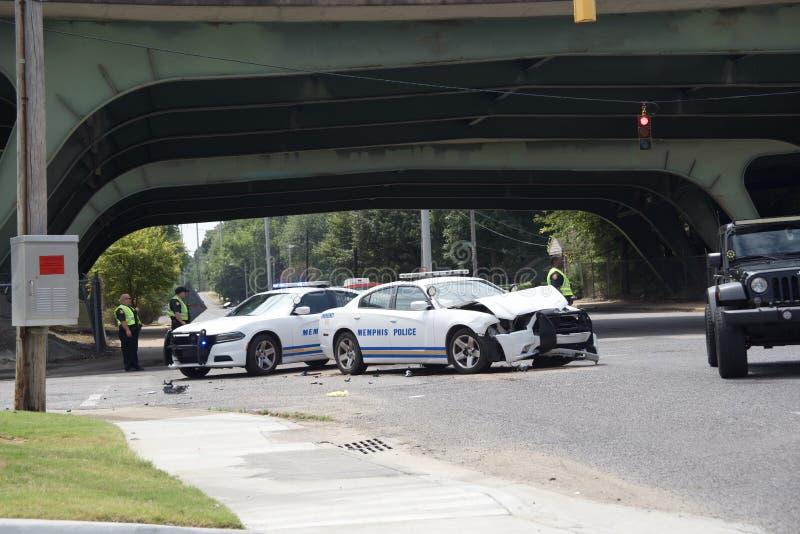 孟菲斯警察局官员包含的事故 库存照片