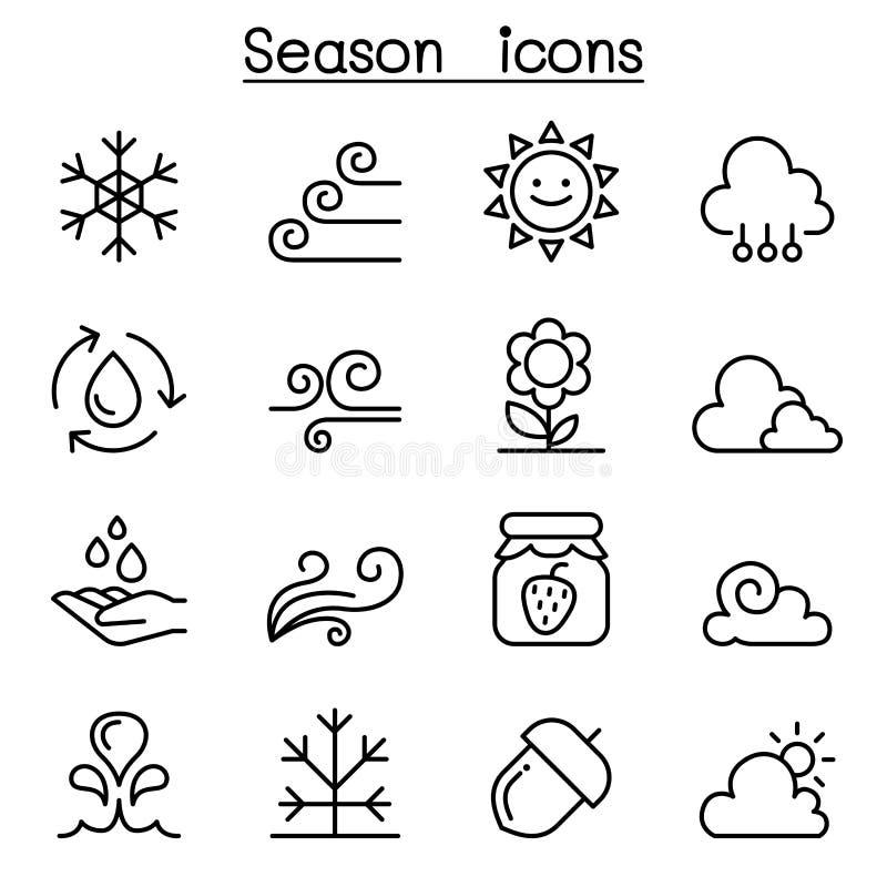 季节、气候&天气象在稀薄的线型设置了 向量例证