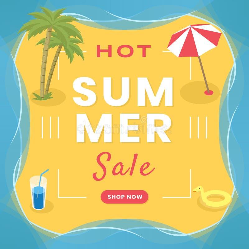 季节性批发社会媒介横幅模板 热的夏天购物,清仓拍卖广告海报概念 向量例证