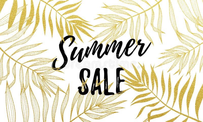 季节性折扣电视节目预告购物的夏天销售金棕榈叶样式背景 向量例证